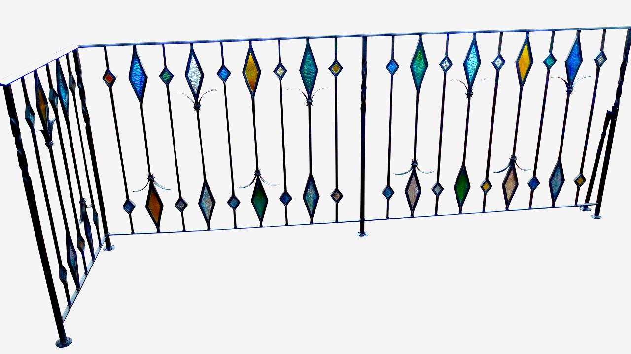 ロートアイアン手すり,ステンドグラス,ステンドガラス,綺麗,オーダーメイド,メーカー,広島県