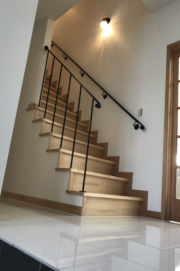 ロートアイアン階段手摺,壁取付手摺